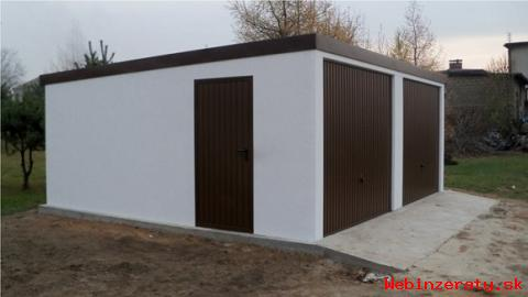 Omítnutá montovaná garáž - celá SR