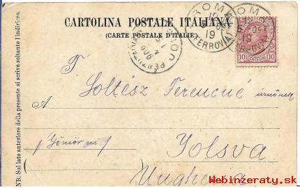 Pohľadnica Rím-Jelšava z r. 1909