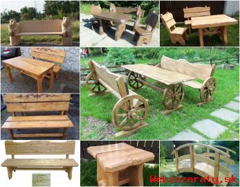 Drevený záhradný nábytok, detské domy ko