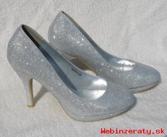 aab38401bcfd7 Strieborné trblietavé topánky