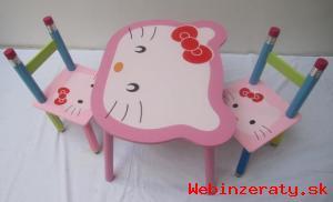 Detský Stolík a 2 stoličky Hello Kitty