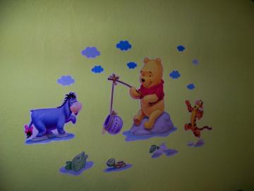 Macko pooh, mickey nálepka na stenu. .